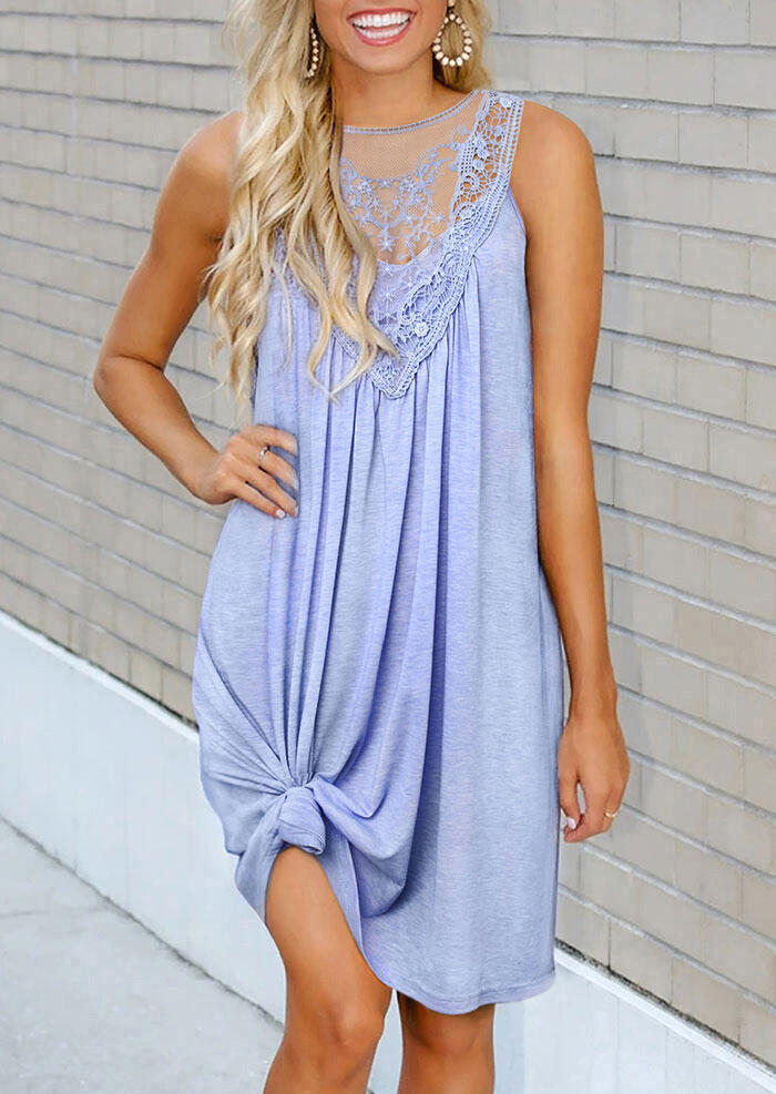Lace Splicing Hollow Out Ruffled Button Mini Dress - Light Blue