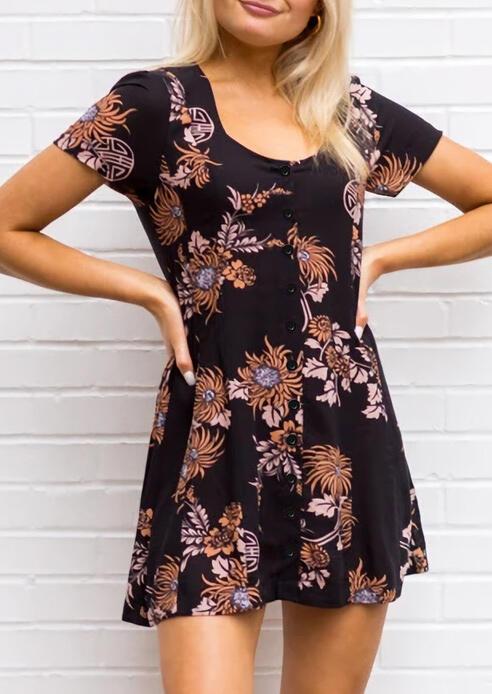 Floral Button Mini Dress - Black