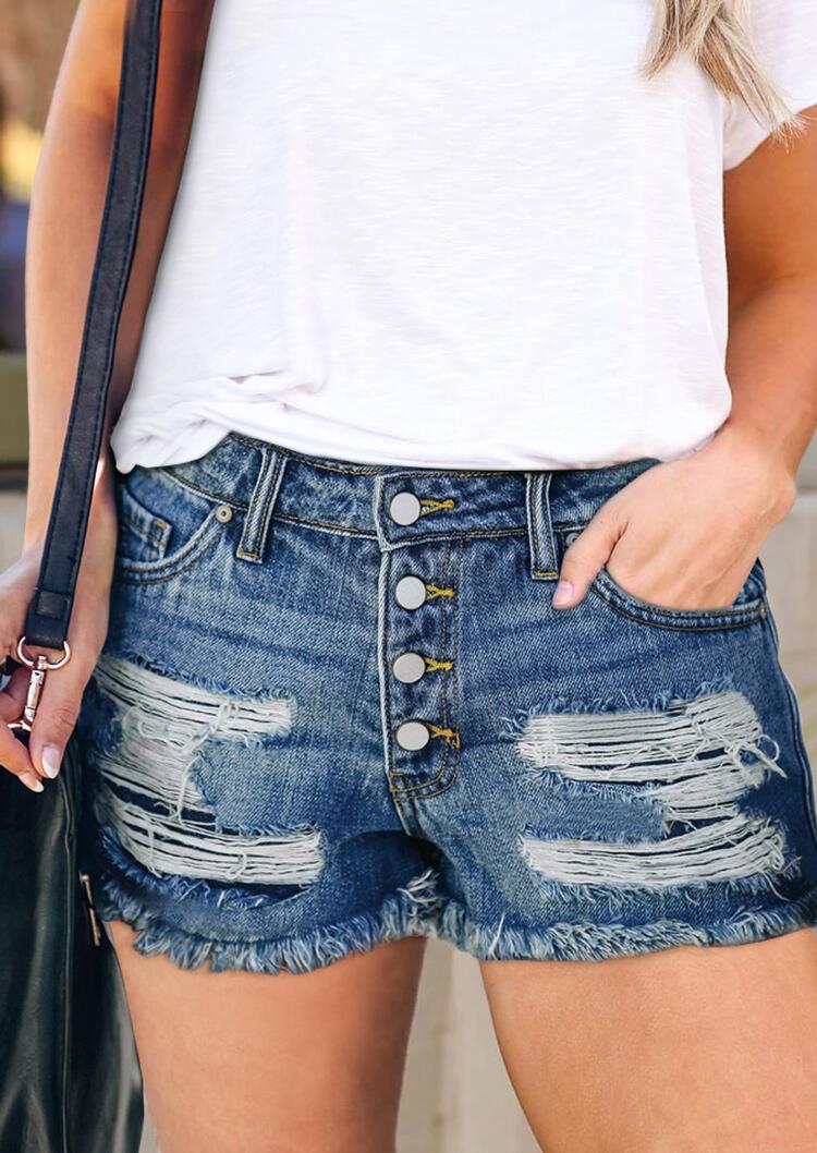 Ripped Hole Pocket Denim Shorts - Blue