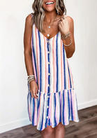 Colorful Striped Splicing Button Ruffled Mini Dress without Necklace