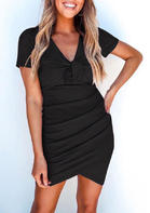 Irregular Ruffled Tie Wrap Bodycon Dress - Black