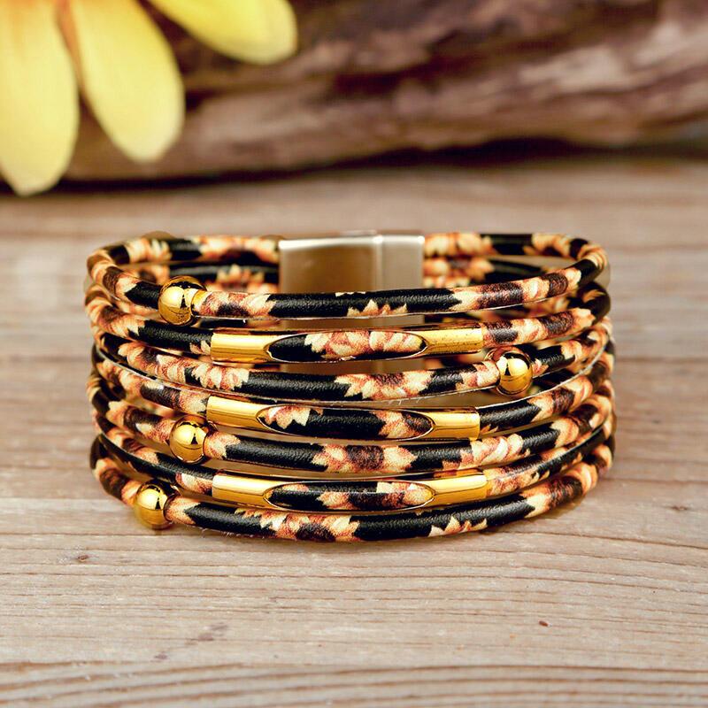 Sunflower Multi-Layered Leather Wrap Bracelet