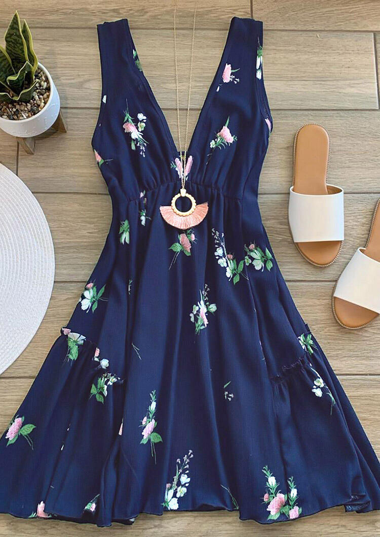 Floral Ruffled Open Back Mini Dress without Necklace - Navy Blue