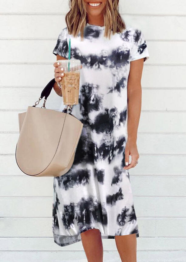 Tie Dye Slit O-Neck Casual Dress without Necklace - White