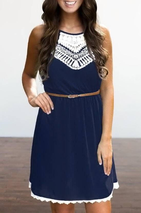 Lace Splicing Hollow Out Sleeveless Mini Dress without Belt - Navy Blue