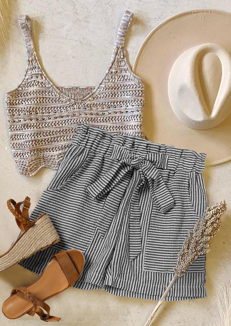 Striped Pocket High Waist Bowknot Shorts - Black