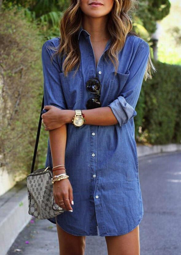 Denim Pocket Button Asymmetric Mini Dress - Blue