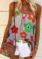 Floral Ruffled Camisole without Necklace - Gray