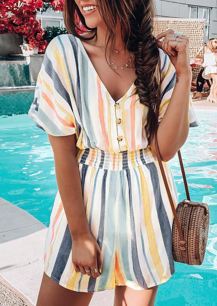 Striped Button V-Neck Romper without Necklace