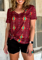 Aztec Geometric T-Shirt Tee without Necklace - Burgundy