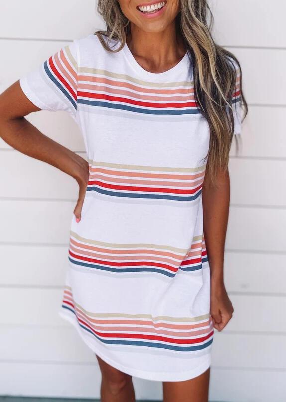 Colorful Striped O-Neck Mini Dress - White