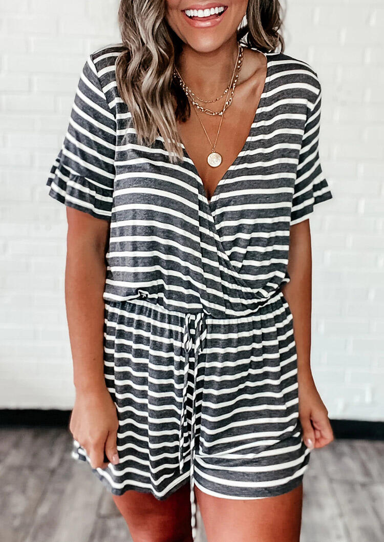 Striped Splicing Ruffled Drawstring Romper without Necklace