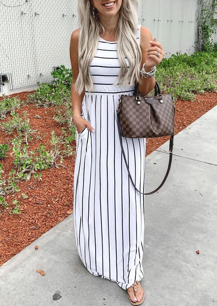 Striped Splicing Pocket Sleeveless Maxi Dress - White