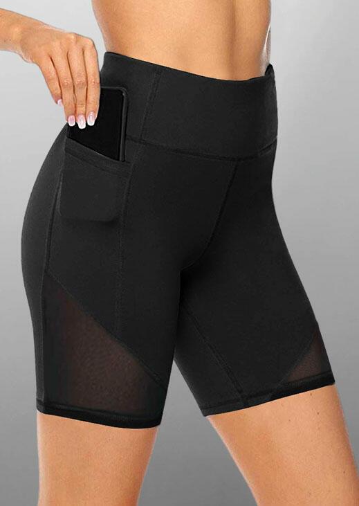 Mesh Splicing Pocket Yoga Fitness Activewear Shorts - Black