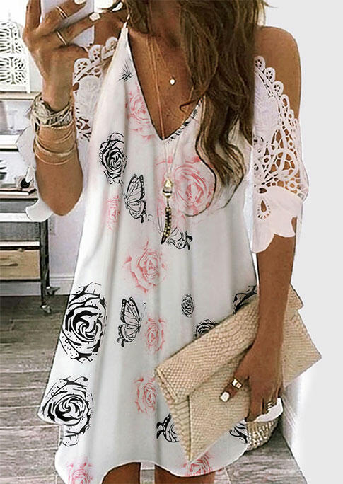 Floral Butterfly Lace Splicing Cut Out Mini Dress - White