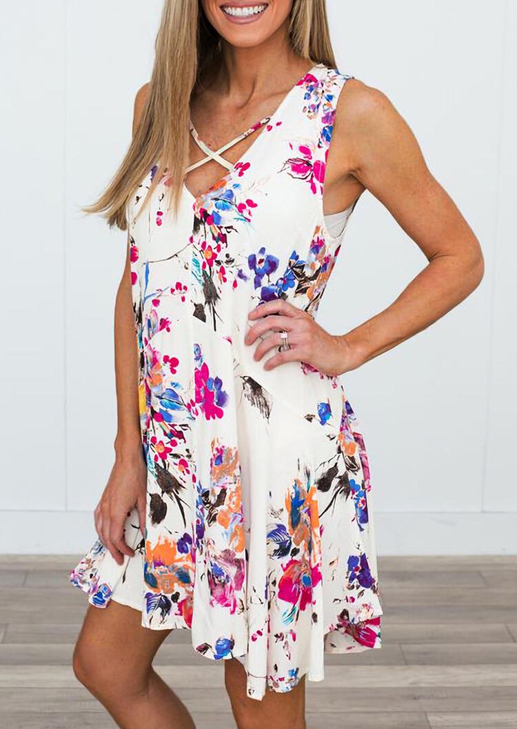 Floral Criss-Cross V-Neck Mini Dress - White