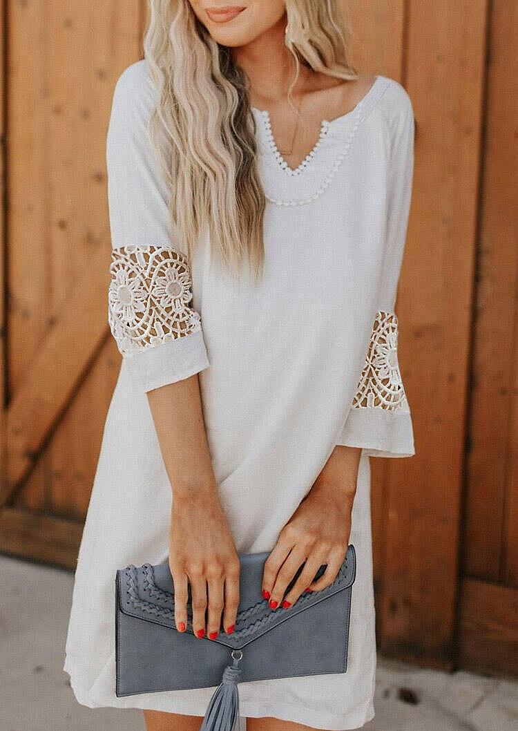 Lace Splicing Floral Mini Dress - White