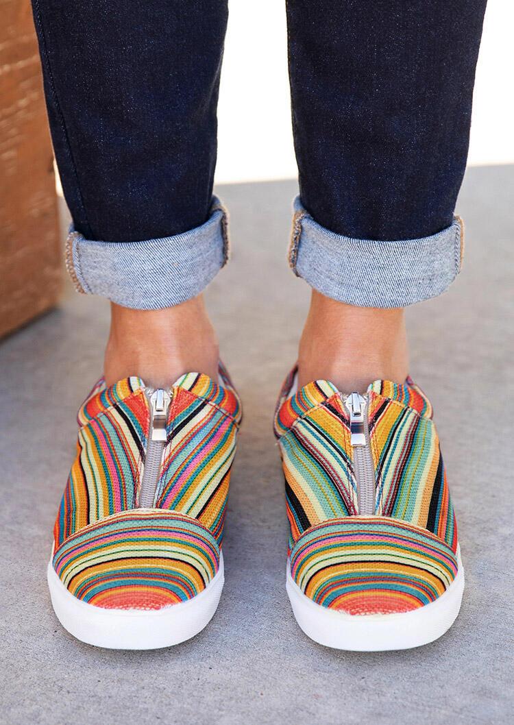 Colorful Serape Striped Round Toe Zipper Flat Sneakers