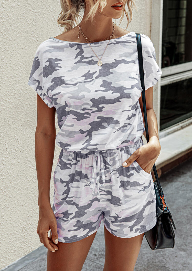 Camouflage Cut Out Drawstring Pocket Romper