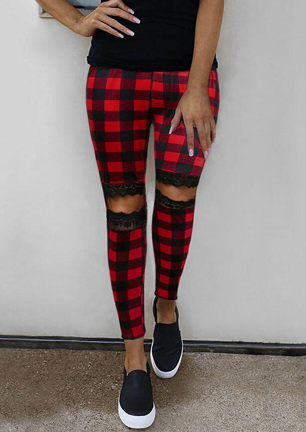 Plaid Floral Lace Hollow Out Skinny Leggings - Red