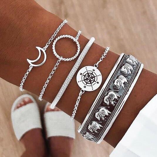 5Pcs Bohemian Moon Elephant Compass Bracelet Set - Silver