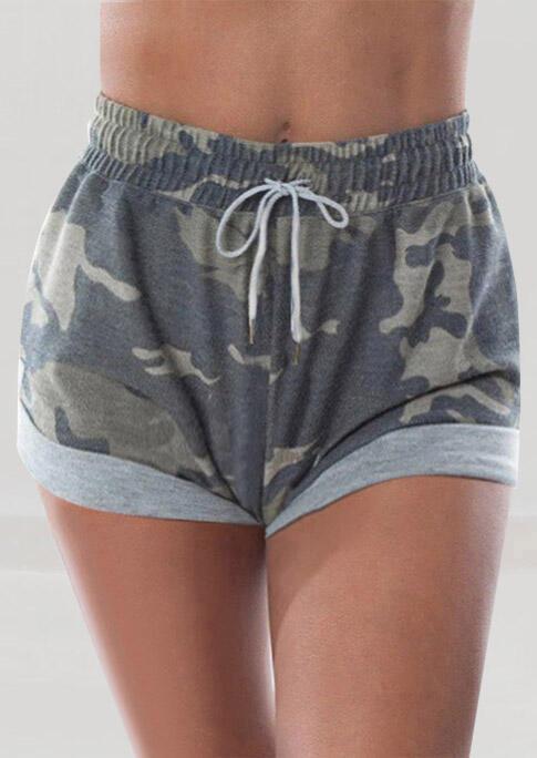 Camouflage Drawstring Elastic Waist Shorts