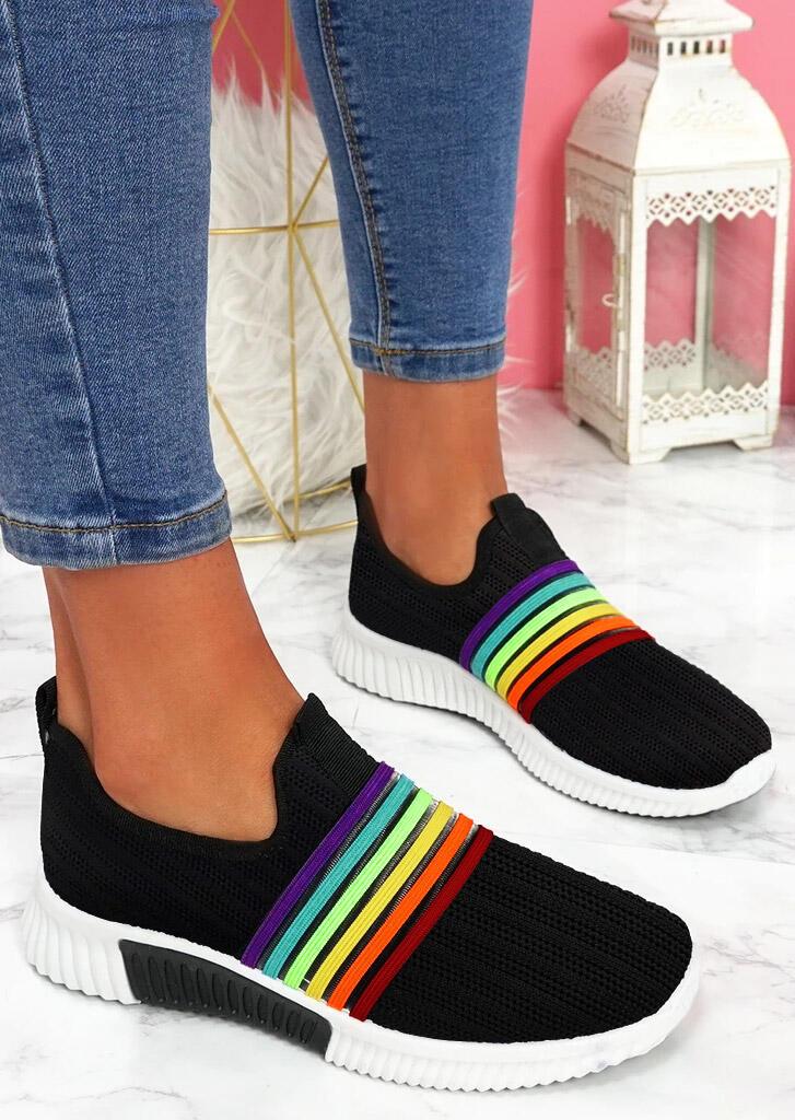 Breathable Rainbow Slip On Round Toe Sneakers