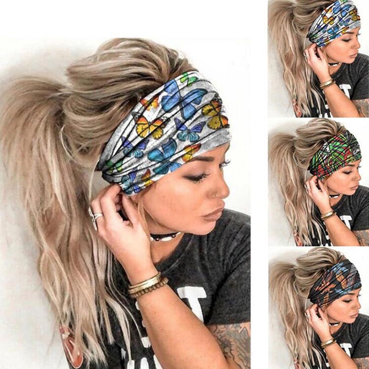 Butterfly Leaf Floral Elastic Yoga Sports Scrunchie Headband