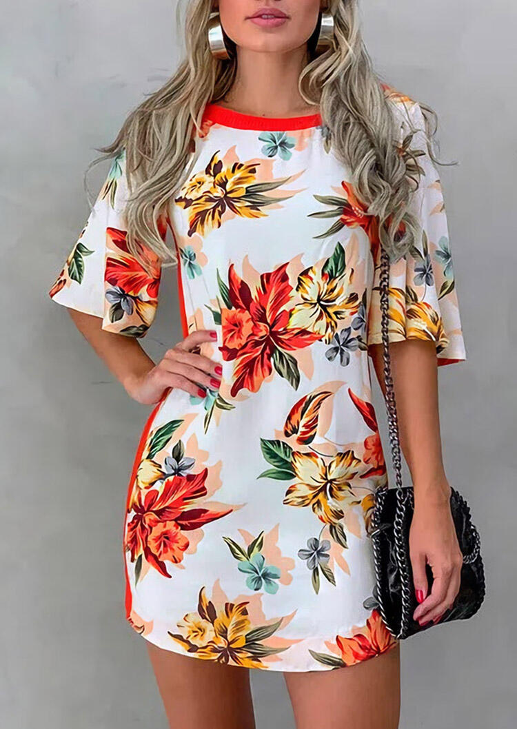 Floral Splicing Cut Out Mini Dress - Red