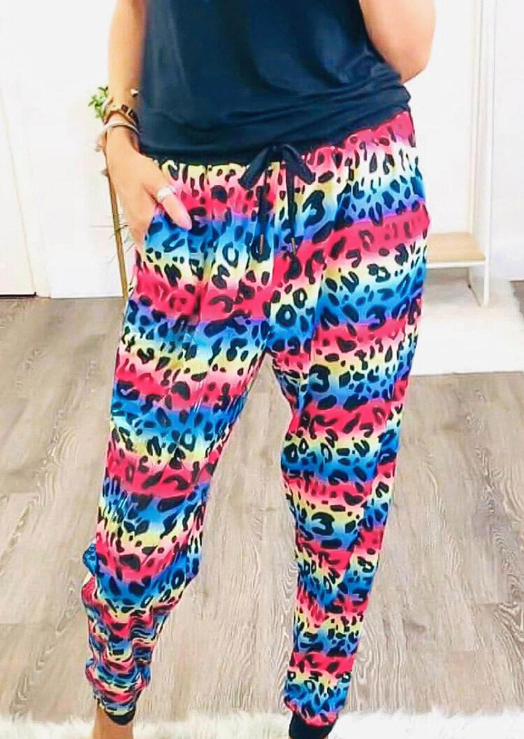 Rainbow Leopard Pocket Drawstring Pants