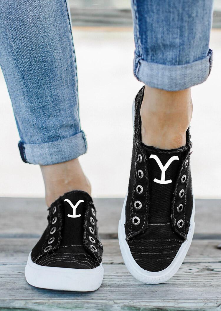Yellowstone Slip On Canvas Sneakers - Black