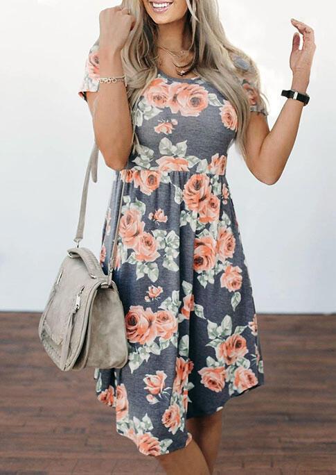Floral Ruffled O-Neck Casual Dress - Dark Grey