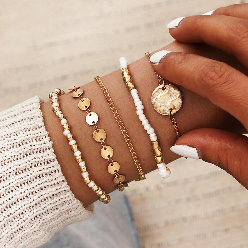 5Pcs Bohemian Handmade Beading Disc Bracelet Set
