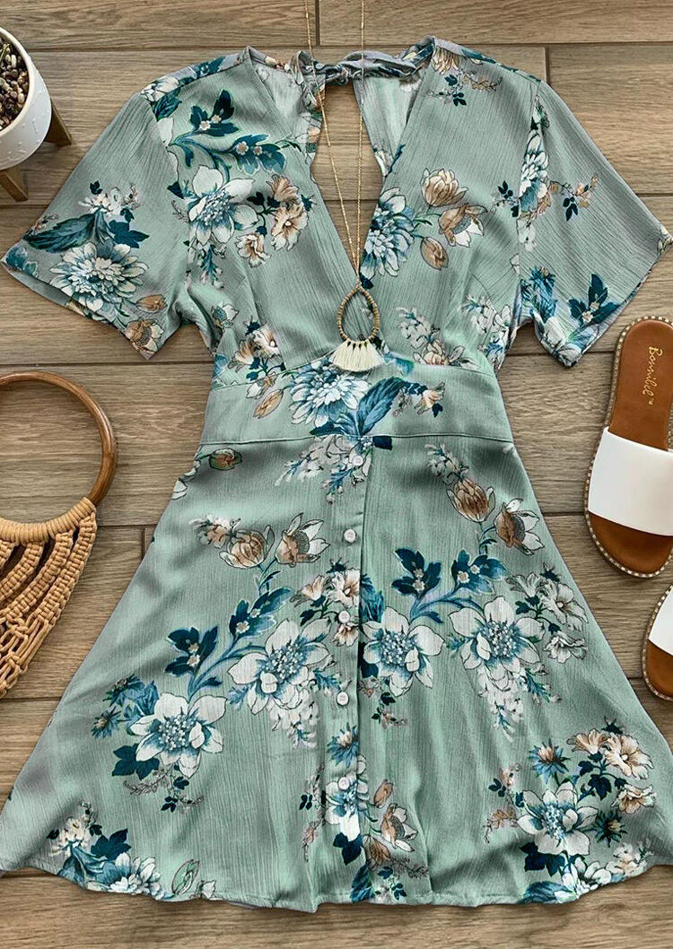 Floral Wrap V-Neck Tie Mini Dress - Light Green