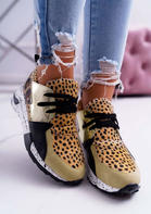 Leopard Splicing Lace Up Wedged Sneakers