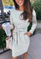 Striped Pocket Tie Long Sleeve Mini Dress