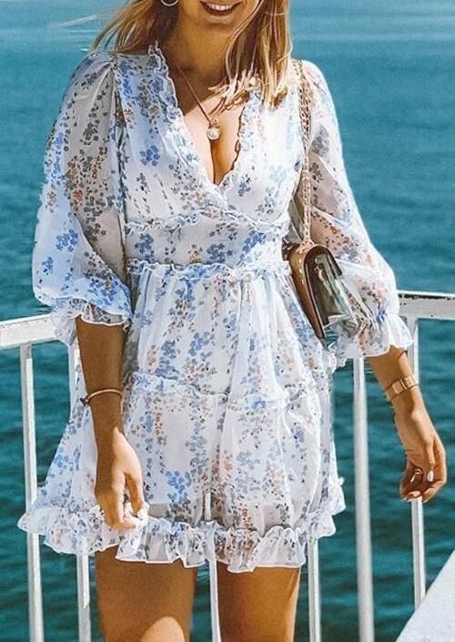 Floral Ruffled Open Back Zipper Mini Dress - White