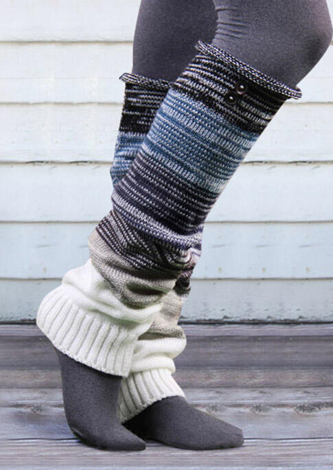 Color Block Over Knee Knitted Leg Warmers Socks