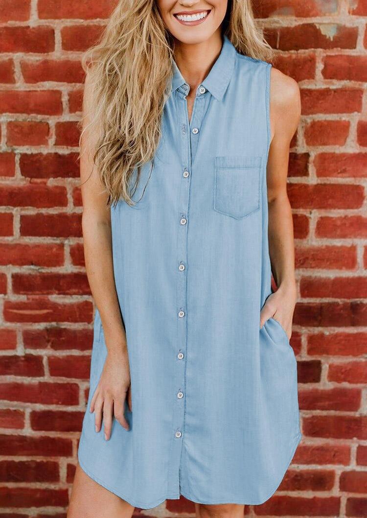 Denim Pocket Button Sleeveless Mini Dress - Light Blue