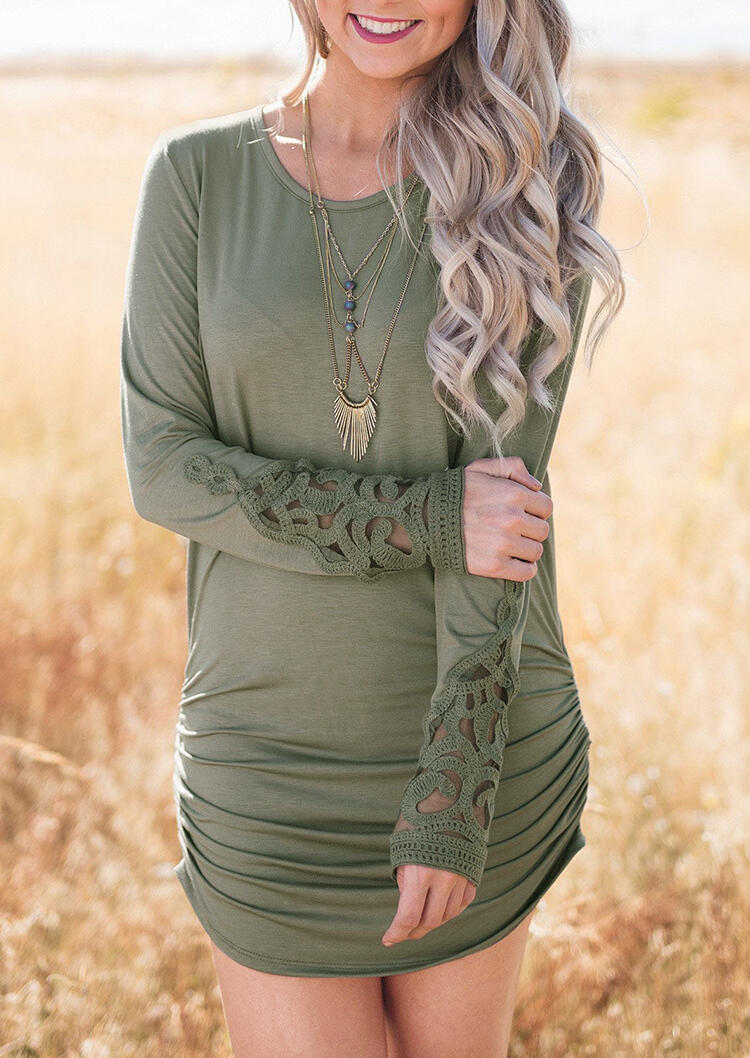 Lace Splicing Hollow Out Ruched Bodycon Dress -Army Green