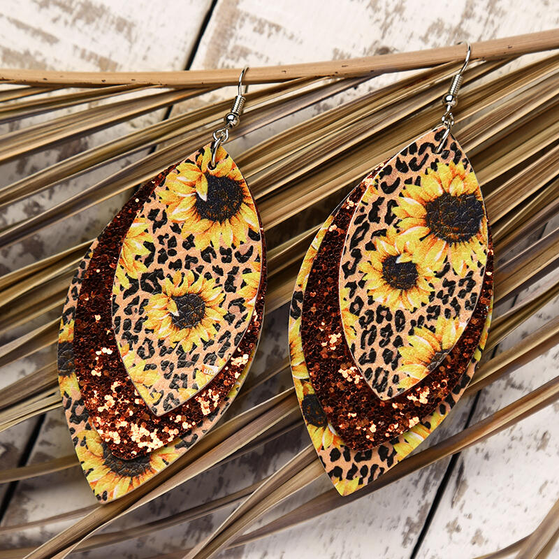 Leopard Sunflower Sequined Leaf Multi-Layered Leather Earrings