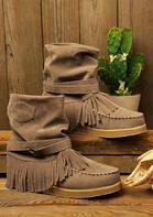 Vintage Tassel Buckle Round Toe Flat Boots - Light Coffee