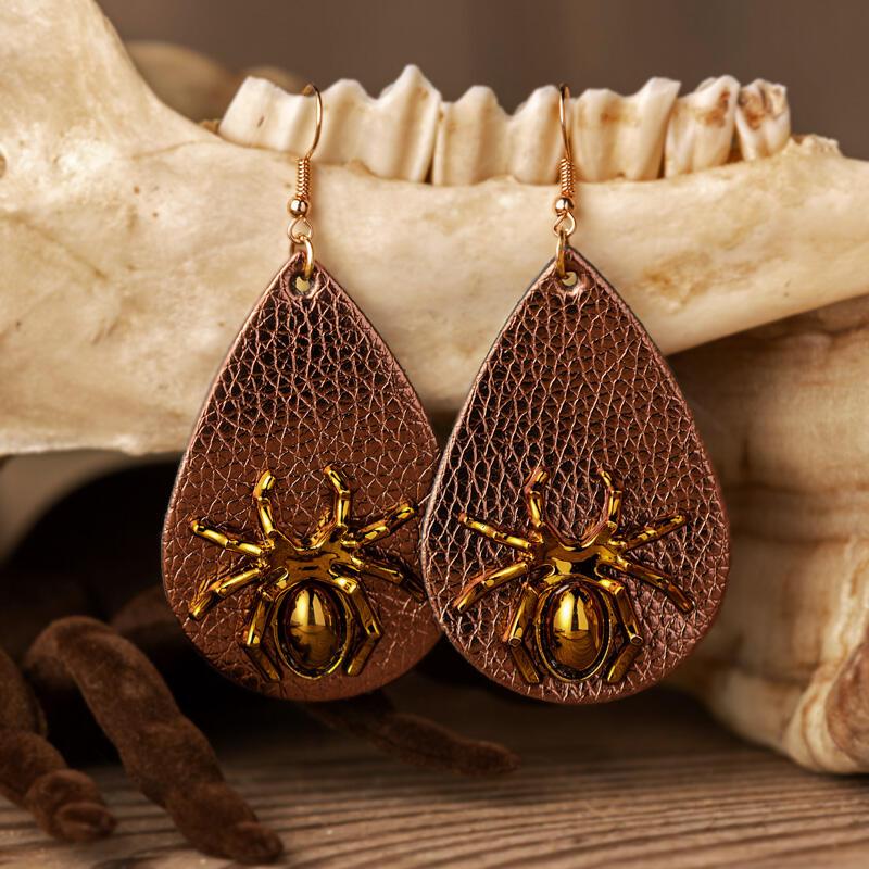 Halloween Spider Leather Water Drop Earrings