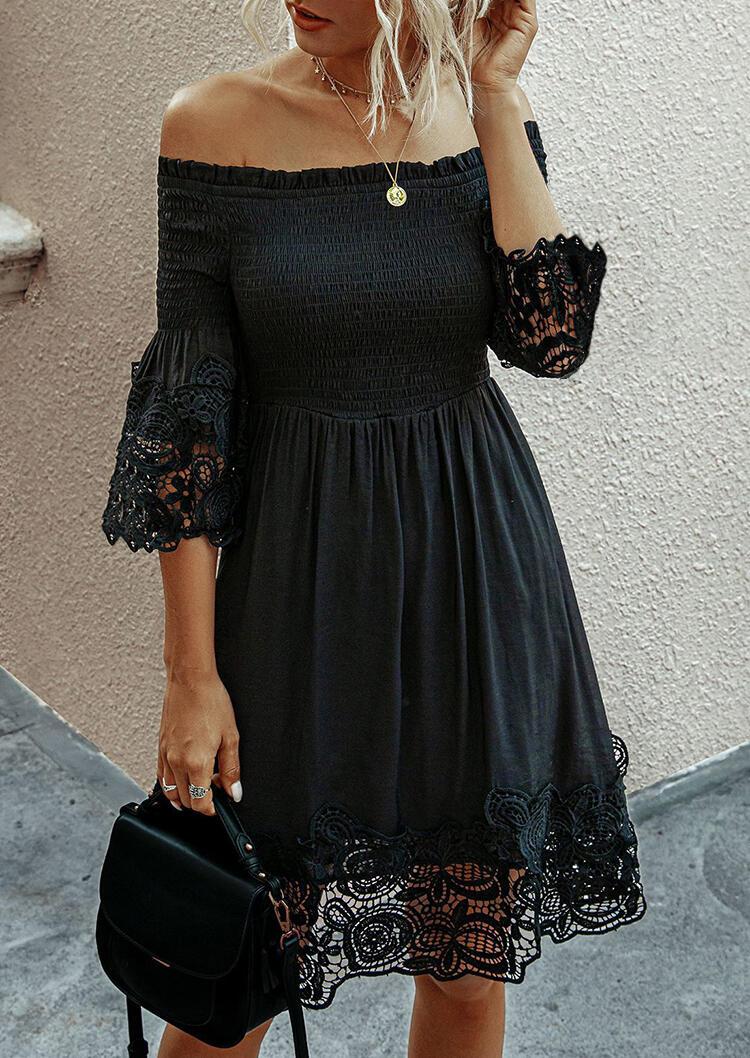 Lace Floral Splicing Ruffled Off Shoulder Mini Dress - Black