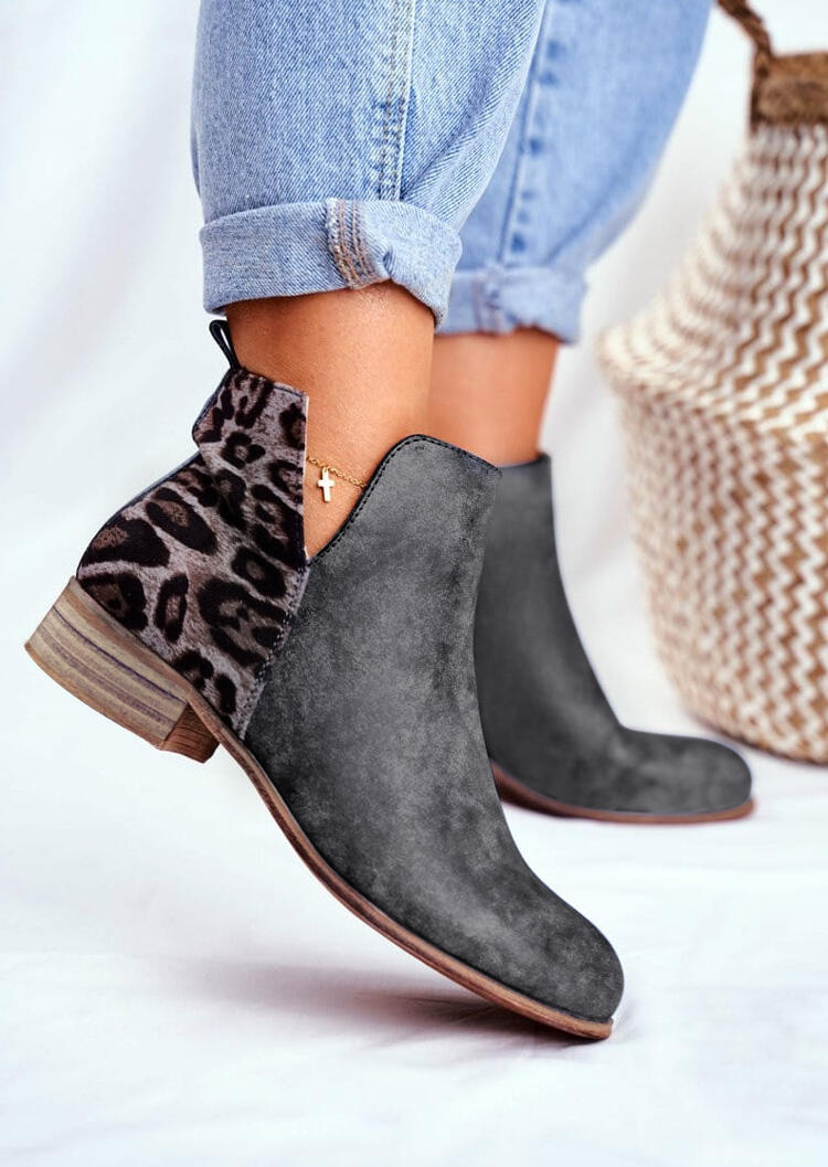 Leopard Splicing Round Toe Zipper Chunky Heel Boots without Anklet