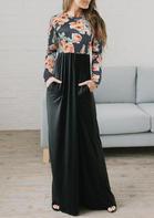 Elegant Floral Splicing Pocket Maxi Dress - Black