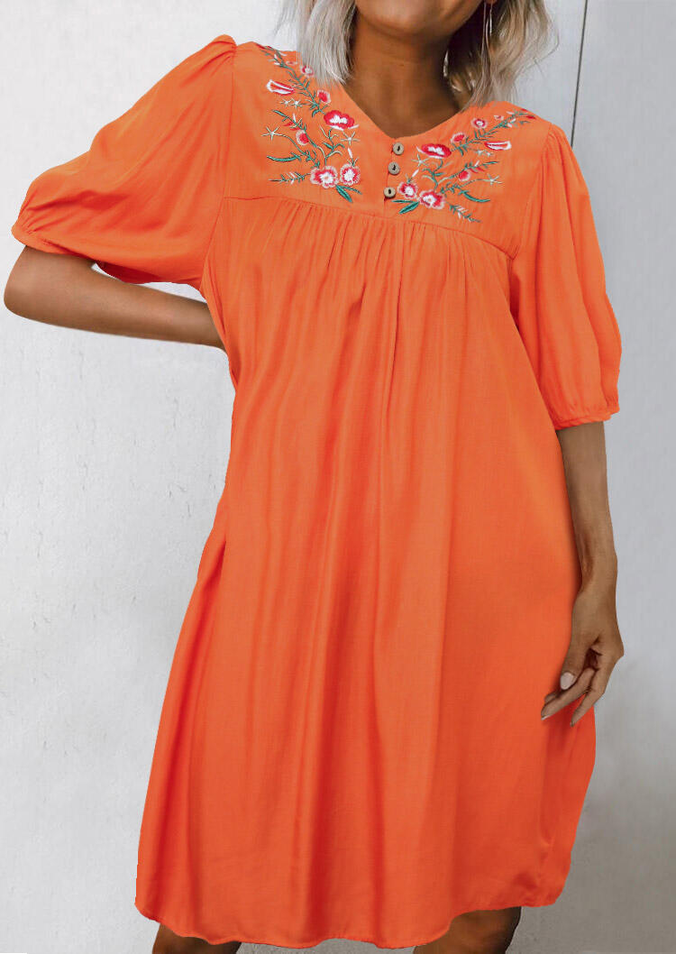 Embroidered Floral Ruffled Button Mini Dress - Orange