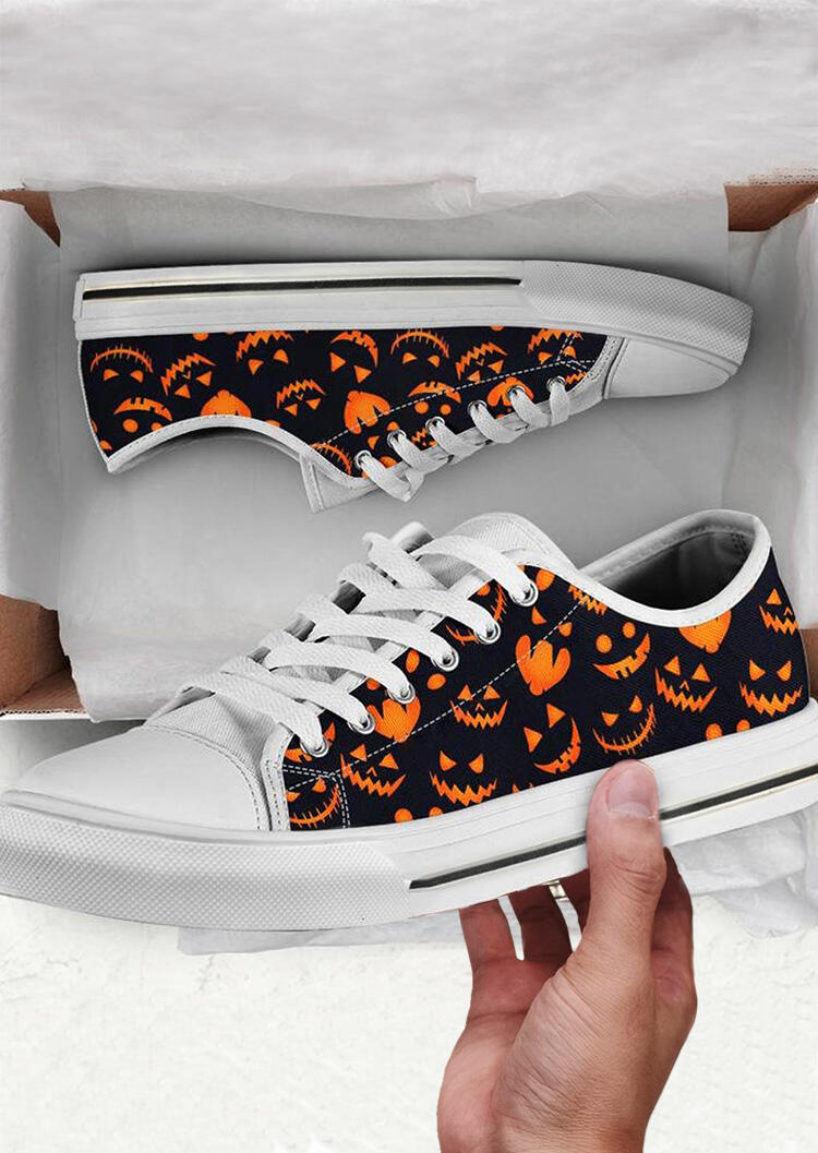 Halloween Pumpkin Lace Up Flat Canvas Sneakers