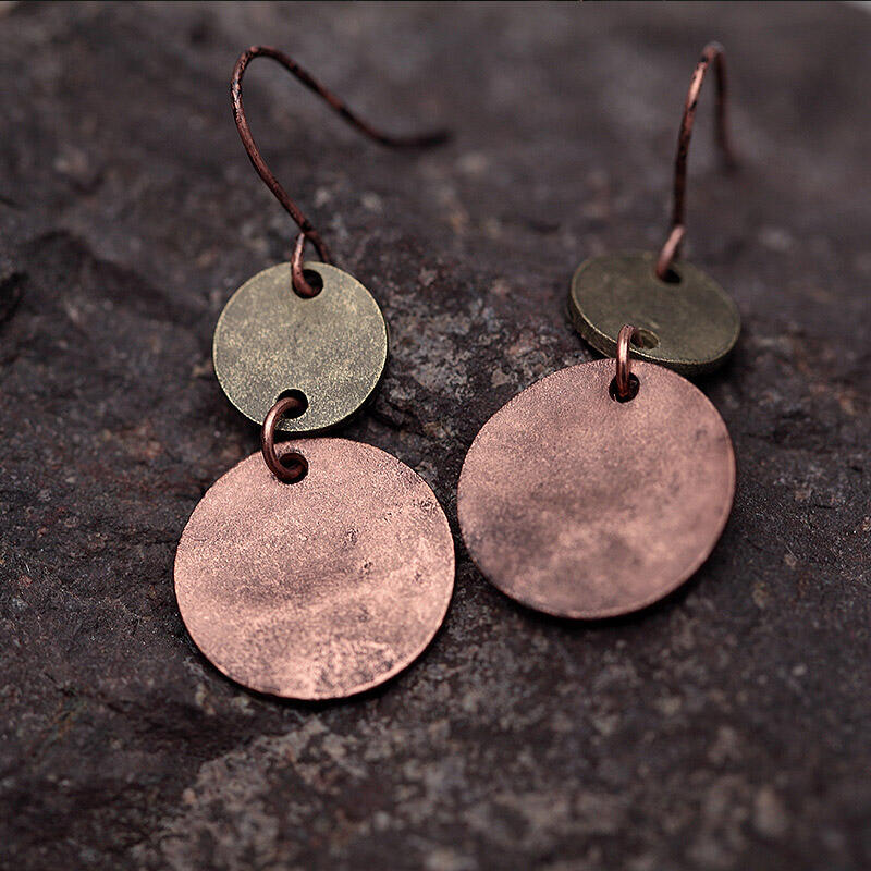 Vintage Double Circle Coin Splicing Earrings