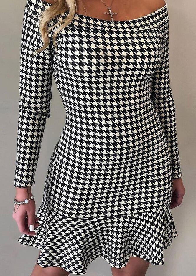 Houndstooth Plaid Ruffled Off Shoulder Mini Dress - Black